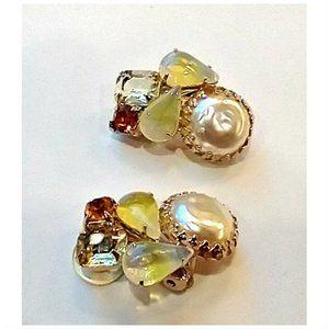 Vtg 50s Givre Glass Rhinestone Clip On Earrings
